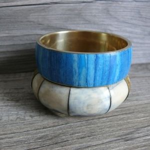 Two Brass Inlay Bangles Stacking Bracelets